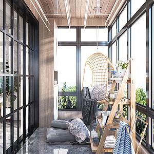 北欧阳台吊椅置物架模型