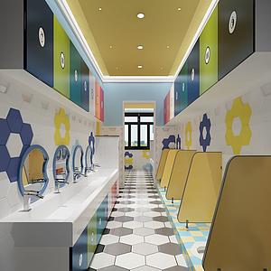 3d幼儿园<font class='myIsRed'>卫生间</font>模型