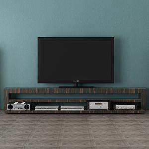 3d电视柜电视背景墙模型
