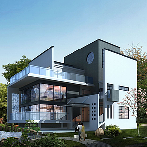 現代中式別墅模型