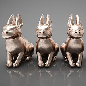 3d现代风格动物雕塑模型