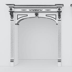 新中式門頭大門埡口模型
