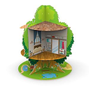 木質玩具樹屋模型