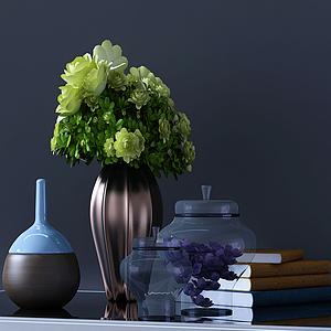 擺件罐子書花瓶組合模型