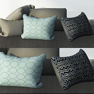 3d現代花紋靠枕組合模型