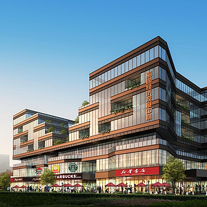 3d現代辦公樓商業中心模型