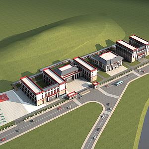 3d藏族學校規劃模型