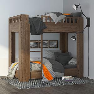3d現代木質上下鋪<font class='myIsRed'>兒童床</font>模型