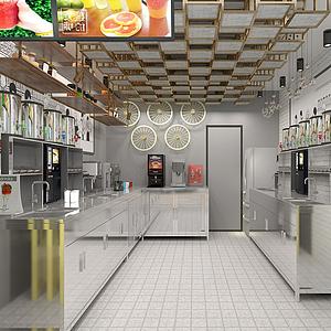 冷飲奶茶店廚房操作間模型