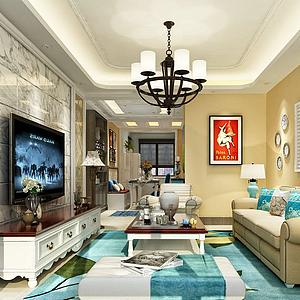3d地红海客厅模型