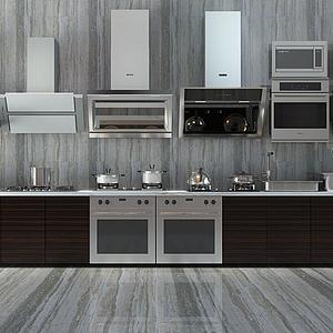 現代廚房灶具櫥柜冰箱模型