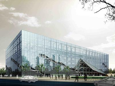 3d玻璃幕多層公建模型