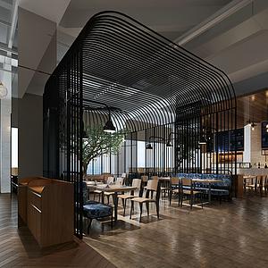 現代個性餐廳模型
