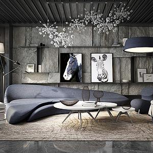 现代经典客厅3d模型