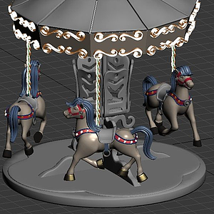 游樂場里的旋轉木馬模型