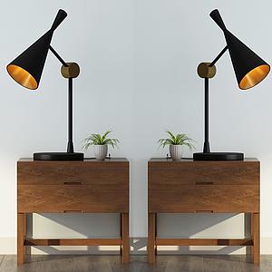 簡約邊柜小臺燈模型