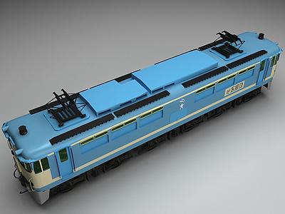 3d藍色<font class='myIsRed'>火車</font>模型