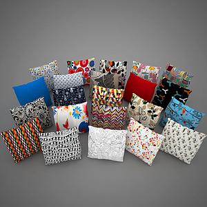 3d花紋抱枕組合模型