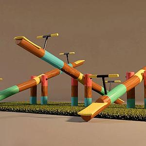 現代兒童游樂設施蹺蹺板模型