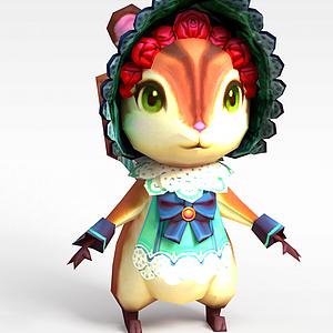 3d手游角色可愛小松鼠模型