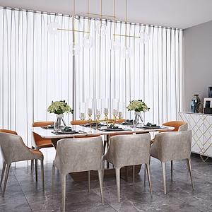 3d现代北欧餐桌椅吊灯模型