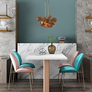 家具饰品组合餐桌椅模型