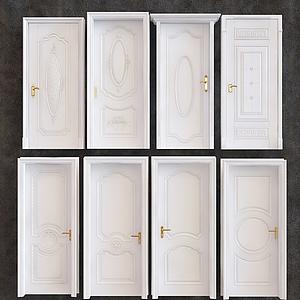 歐式白色實木門模型