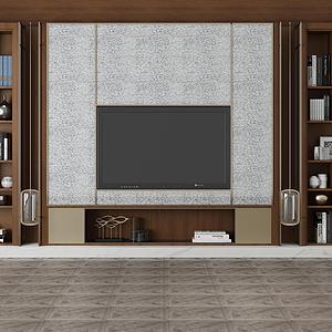 電視柜電視背景墻模型