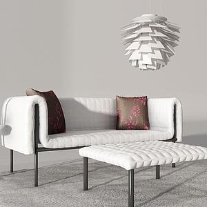 现代休闲沙发脚凳组合模型