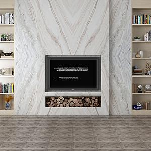 家具飾品組合電視背影墻模型