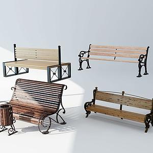 3d简欧公园椅模型