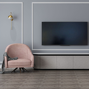 家具飾品組合電視背景墻模型