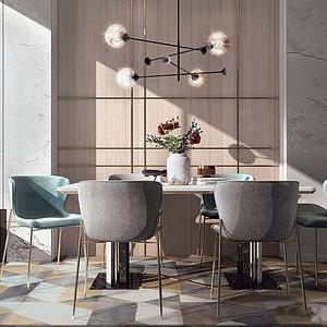 現代餐桌單椅模型