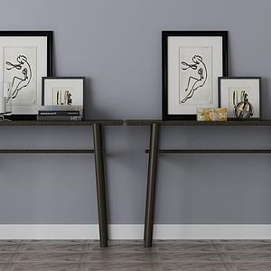 3d家具飾品組合辦公桌模型