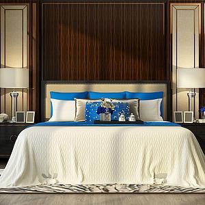 簡約臥室雙人床模型