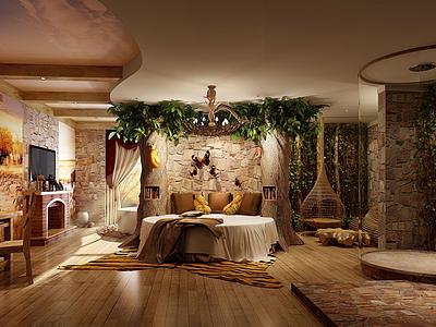 C4D3d酒店客房模型模型