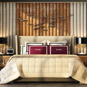 3d简约卧室双人床模型