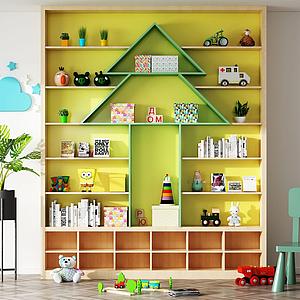 現代兒童書柜置物柜模型