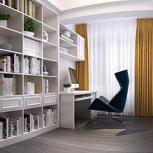 現代書房書柜書桌椅子模型