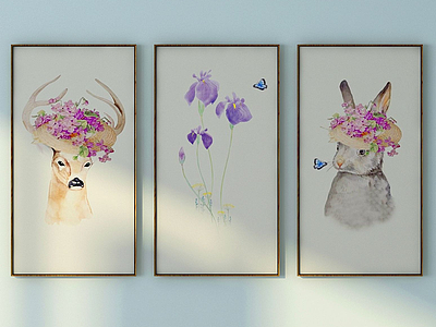3d北歐動物與<font class='myIsRed'>花</font>壁畫組合模型