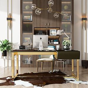 3d现代书桌书柜模型