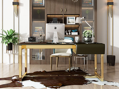 現代書桌書柜模型