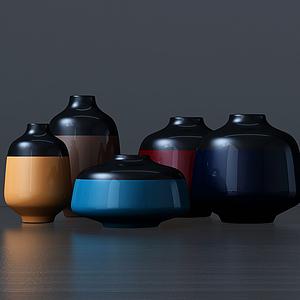 現代雙色陶罐組合模型