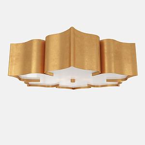 金屬花瓣造型吸頂燈模型