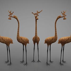 3d藤编动物摆件模型