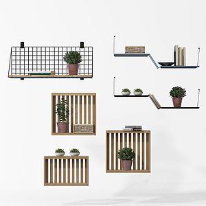 3d实木绿植陈列架模型