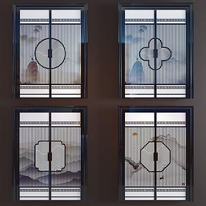 新中式玻璃水墨雙開門模型