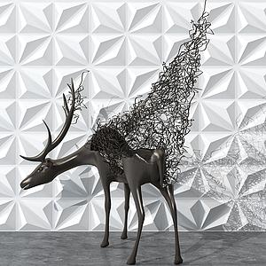 現代鐵藝鹿雕塑擺件模型