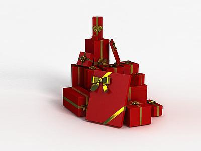 3d<font class='myIsRed'>紅色</font>圣誕禮物盒模型