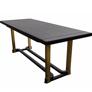 实木长桌模型